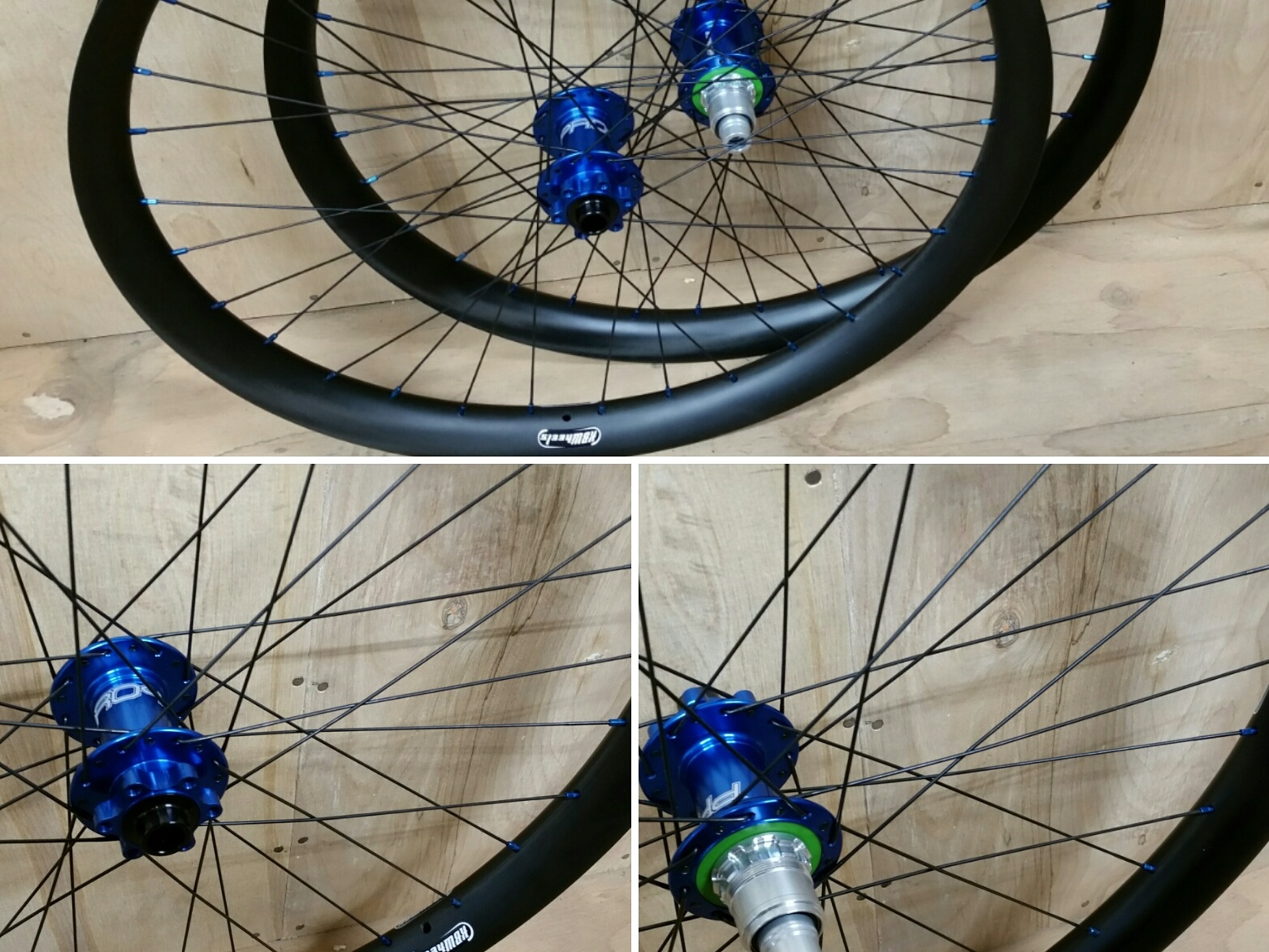 Hope Pro4 boost hubs in blue on Light Bicycle 27.5 carbon rims