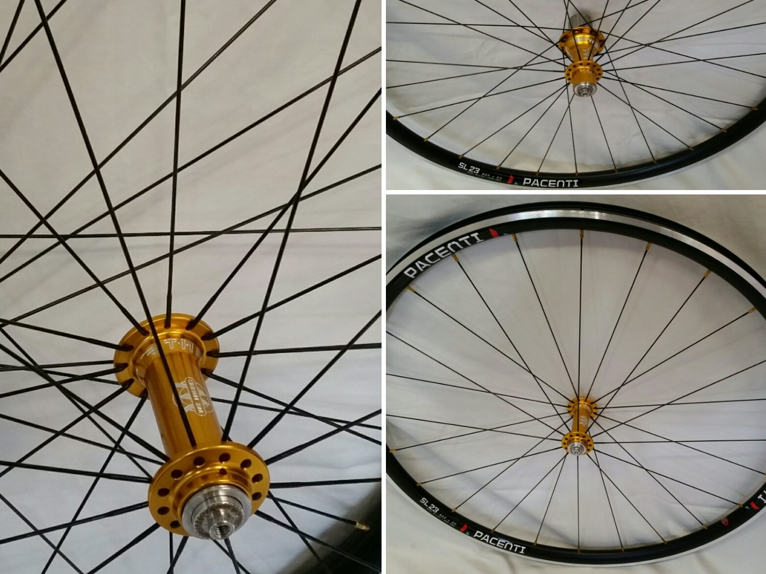 White Industries T11 hubs in gold on Pacenti SL23 rims