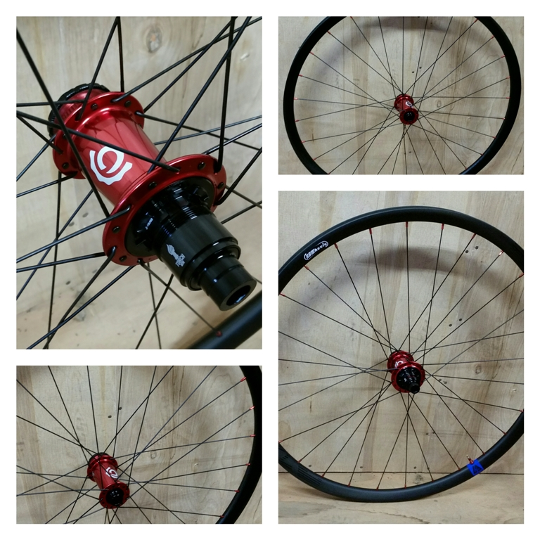 Industry Nine hubs in red on Light Bicycle Flyweight carbon rims